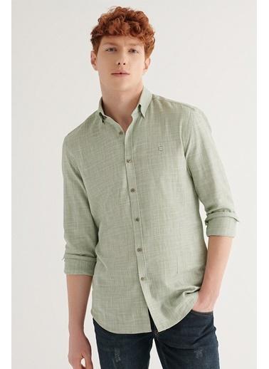 Avva Erkek Armürlü Düğmeli Yaka Slim Fit Gömlek A11Y2176 Yeşil